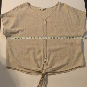 Umgee Rayon/Linen Button Down Tie Front Blouse